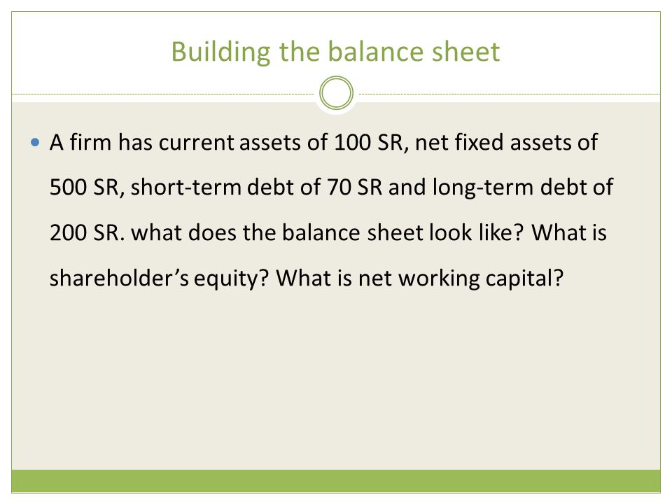 Building the balance sheet