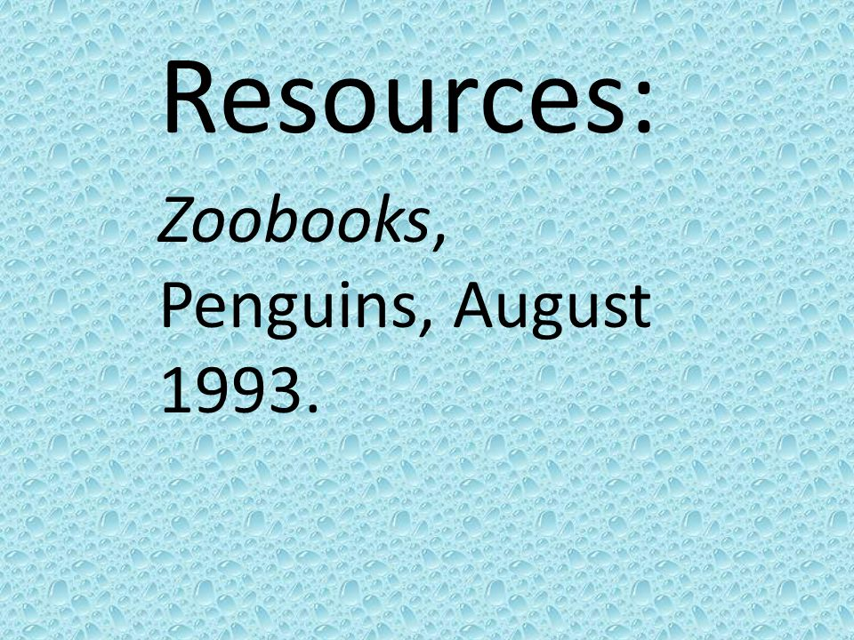 Resources: Zoobooks, Penguins, August 1993.