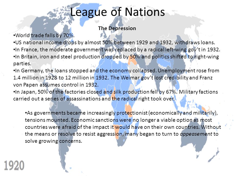 League of Nations The Depression World trade falls by 70%.