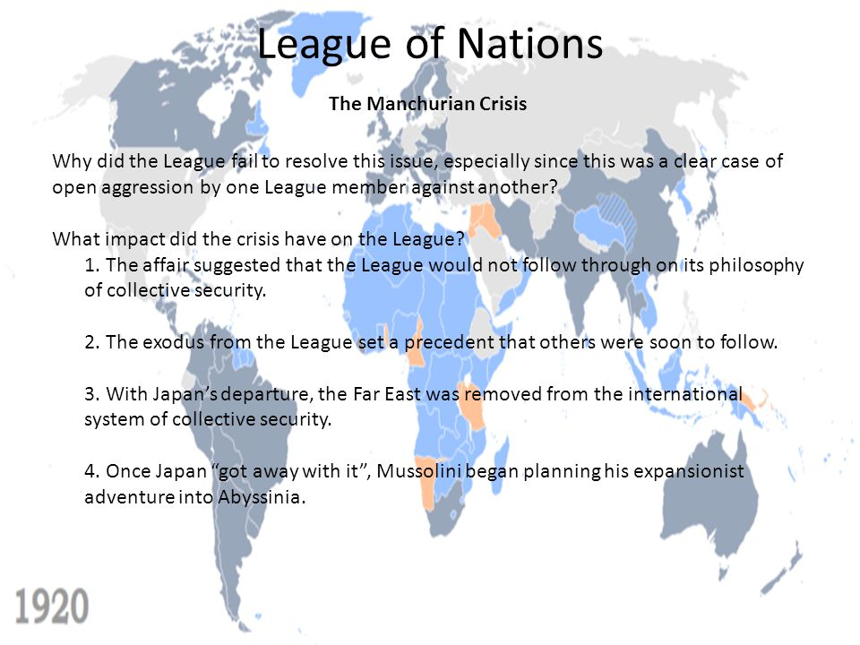League of Nations The Manchurian Crisis