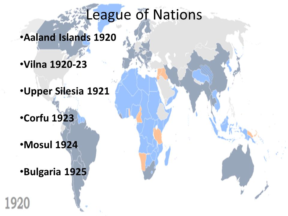 League of Nations Aaland Islands 1920 Vilna 1920-23 Upper Silesia 1921
