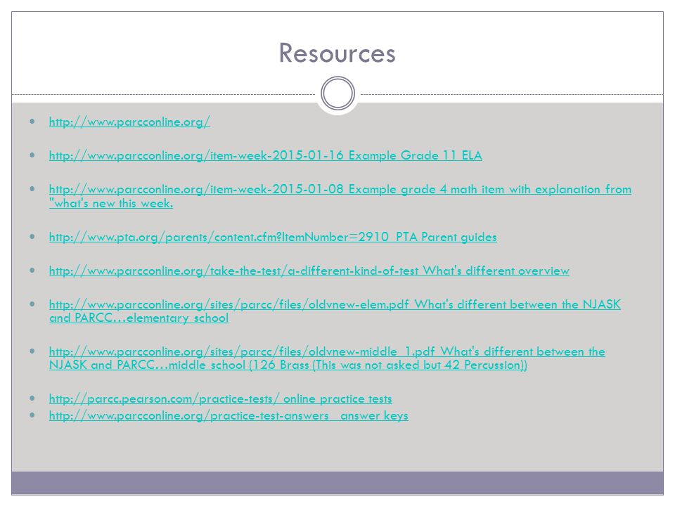 Resources http://www.parcconline.org/