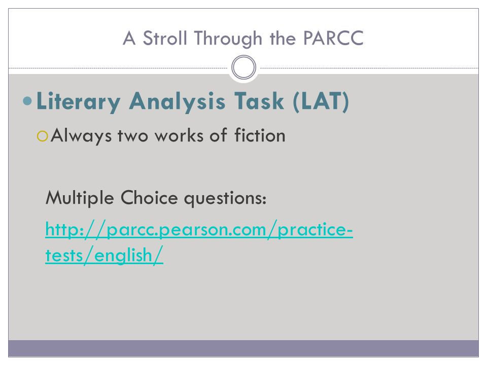 A Stroll Through the PARCC