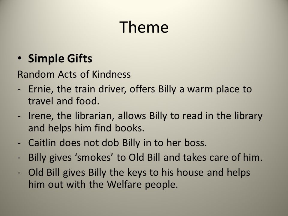 Theme Simple Gifts Random Acts of Kindness