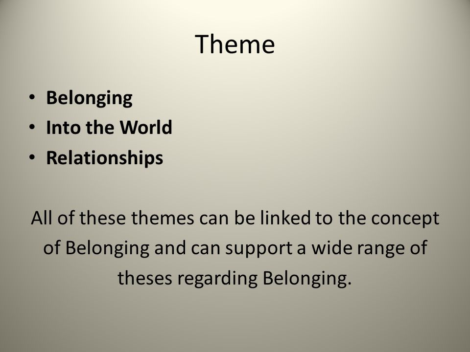 Theme Belonging Into the World Relationships