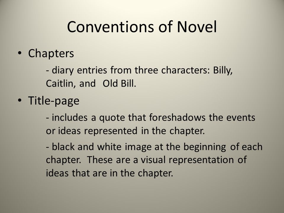 Conventions of Novel Chapters Title-page