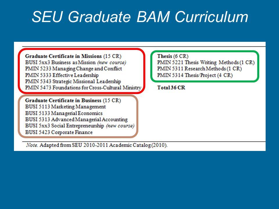 SEU Graduate BAM Curriculum