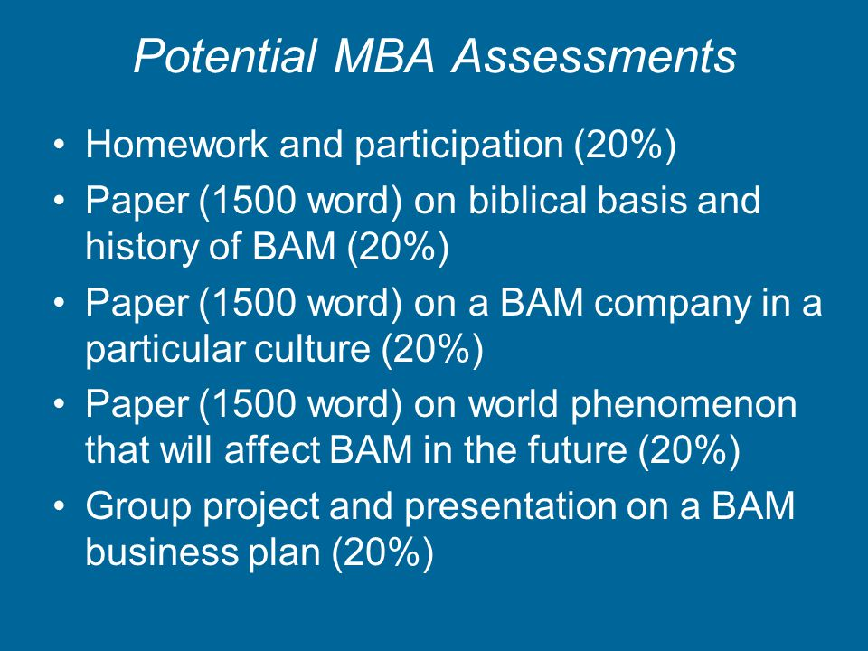 Potential MBA Assessments