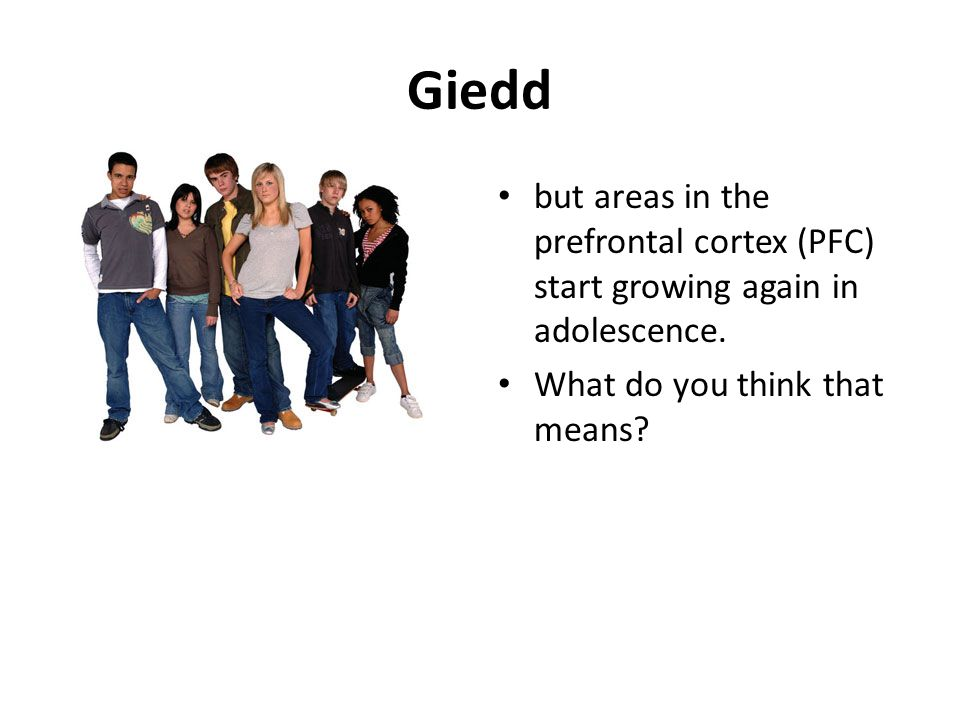 Giedd but areas in the prefrontal cortex (PFC) start growing again in adolescence.