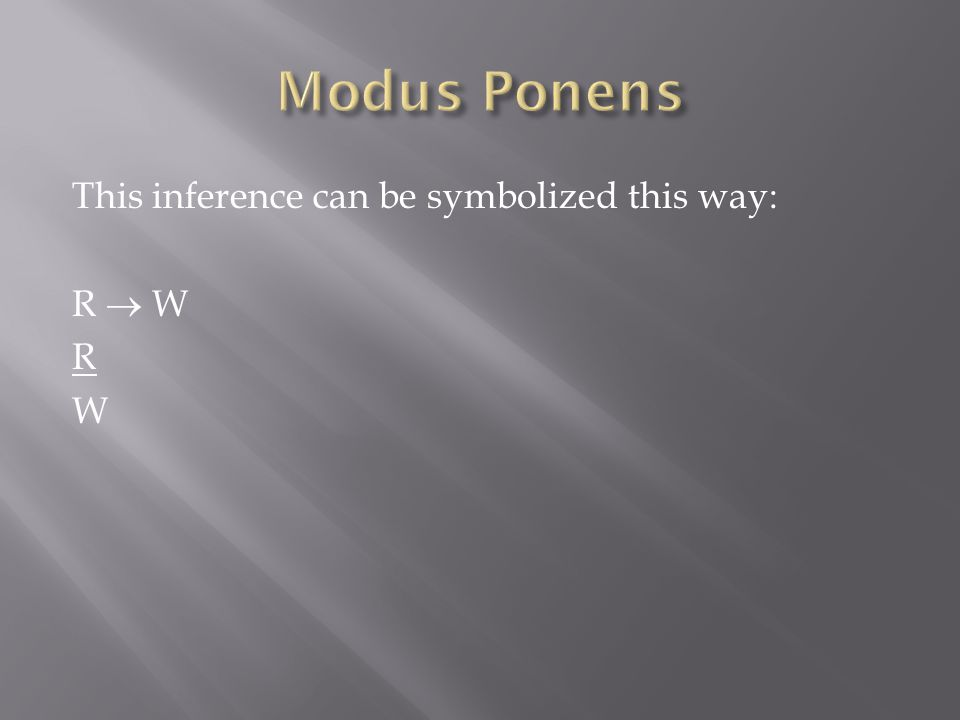 Modus Ponens This inference can be symbolized this way: R  W R W