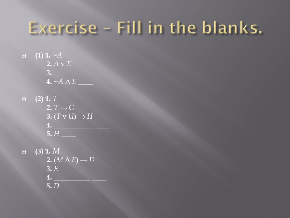 Exercise – Fill in the blanks.
