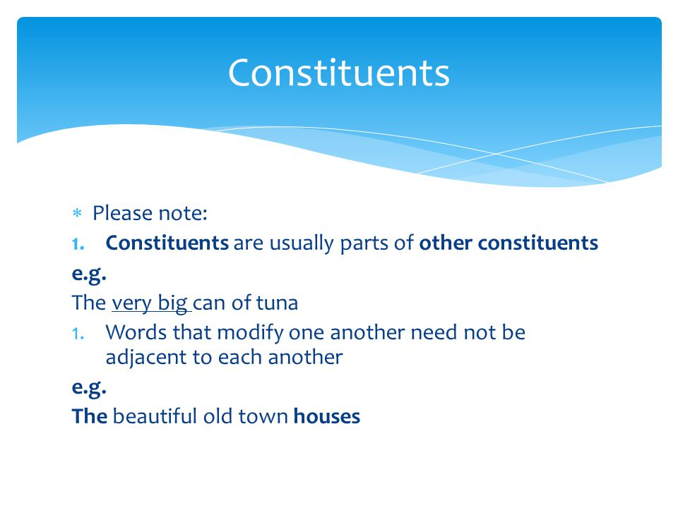 Constituents Please note:
