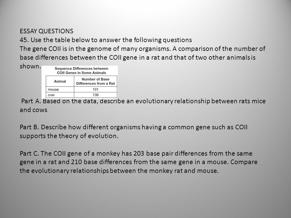ESSAY QUESTIONS 45. Use the table below to answer the following questions.