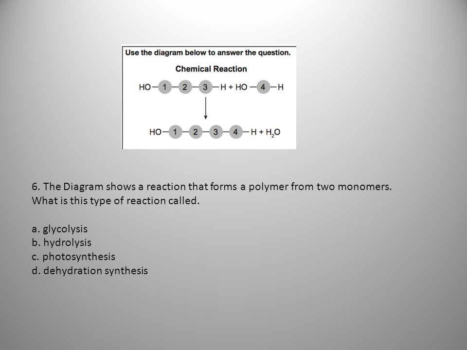 6. The Diagram shows a reaction that forms a polymer from two monomers
