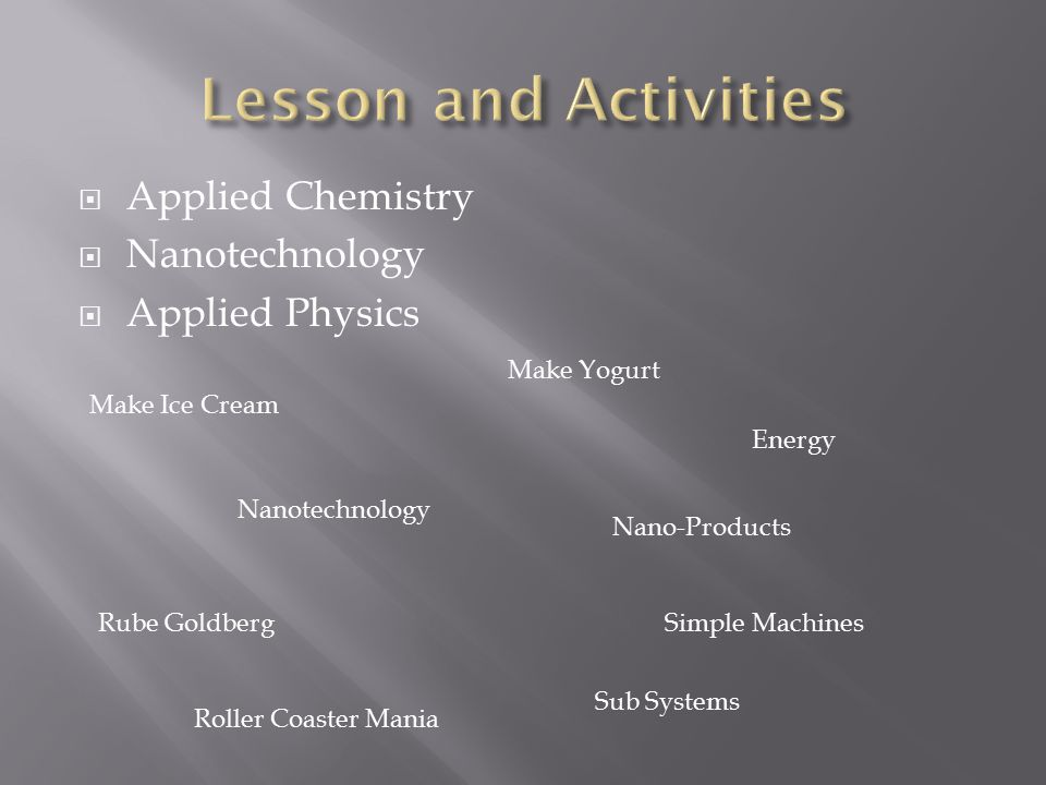 Lesson and Activities Applied Chemistry Nanotechnology Applied Physics