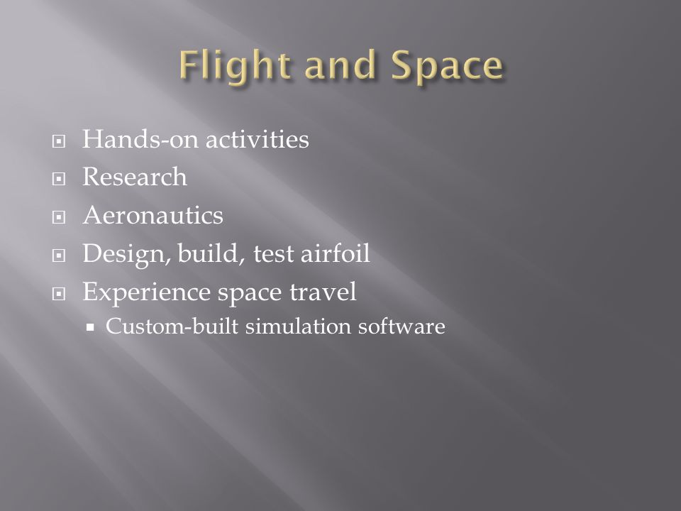 Flight and Space Hands-on activities Research Aeronautics