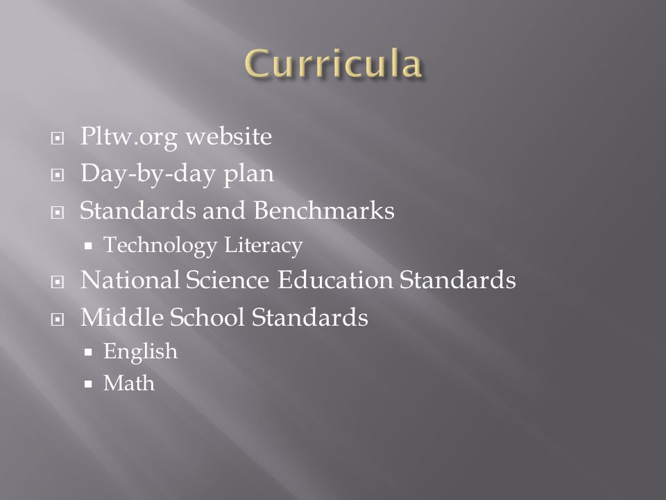 Curricula Pltw.org website Day-by-day plan Standards and Benchmarks