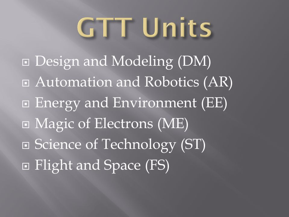 GTT Units Design and Modeling (DM) Automation and Robotics (AR)