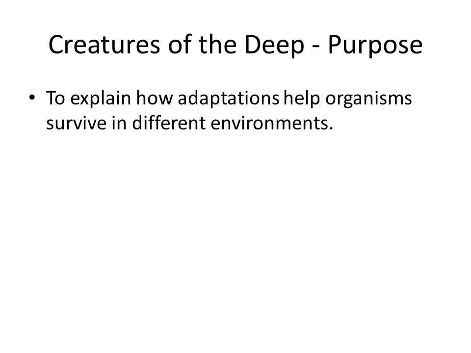 Creatures of the Deep - Purpose