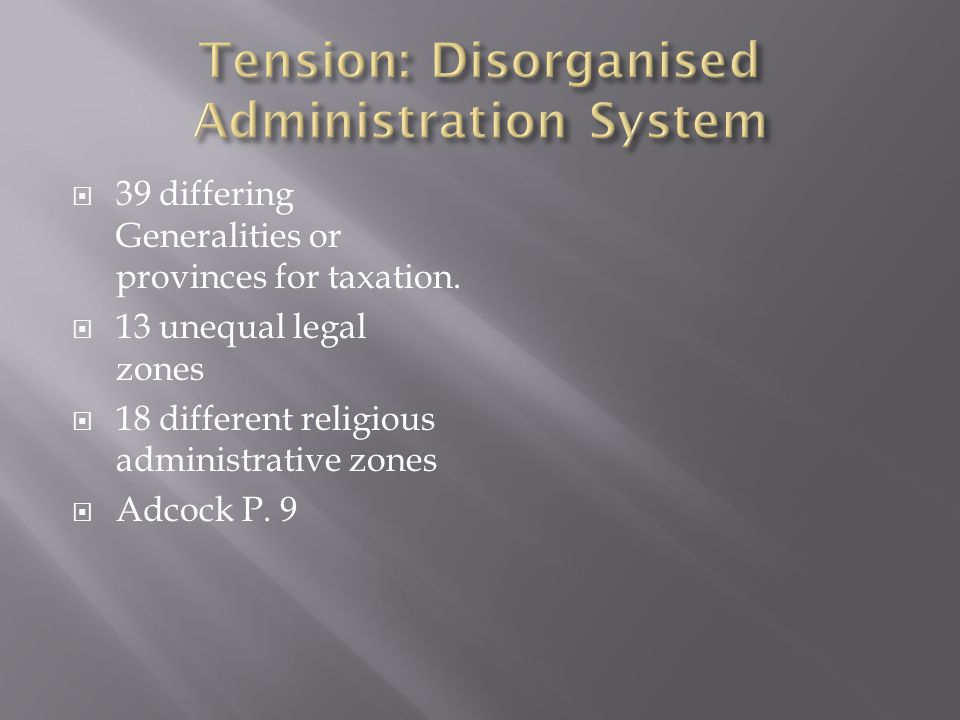 Tension: Disorganised Administration System