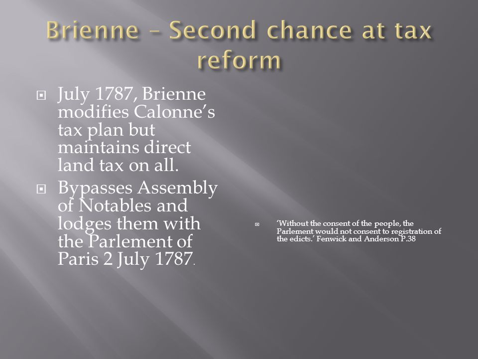 Brienne – Second chance at tax reform