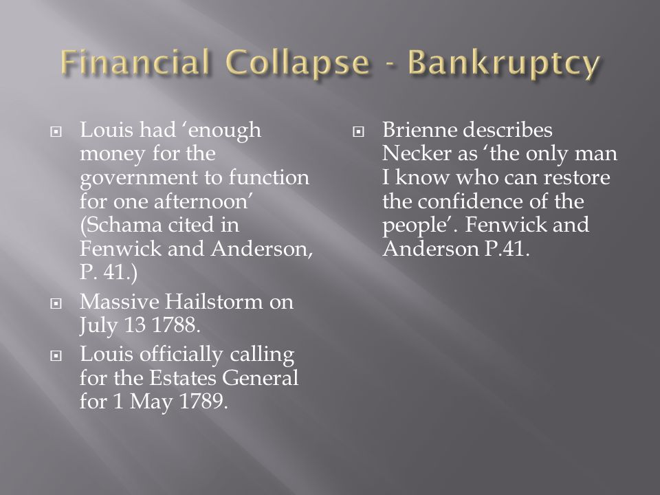 Financial Collapse - Bankruptcy