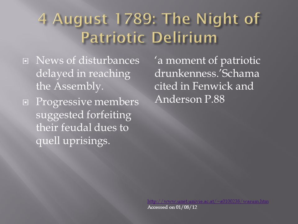 4 August 1789: The Night of Patriotic Delirium