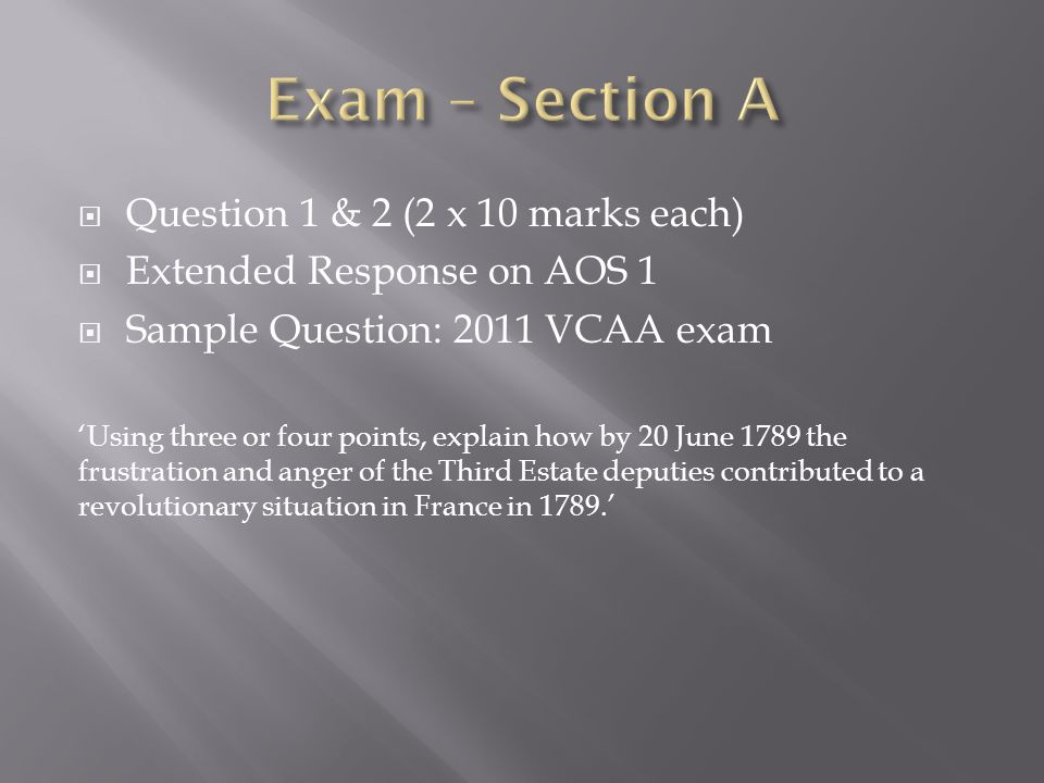 Exam – Section A Question 1 & 2 (2 x 10 marks each)