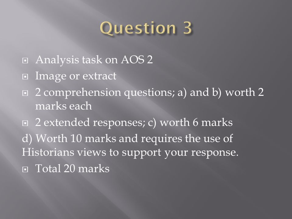 Question 3 Analysis task on AOS 2 Image or extract