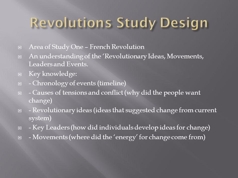 Revolutions Study Design