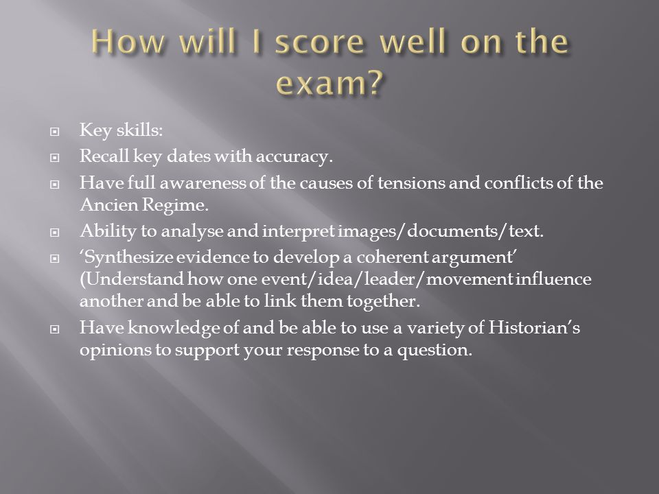 How will I score well on the exam