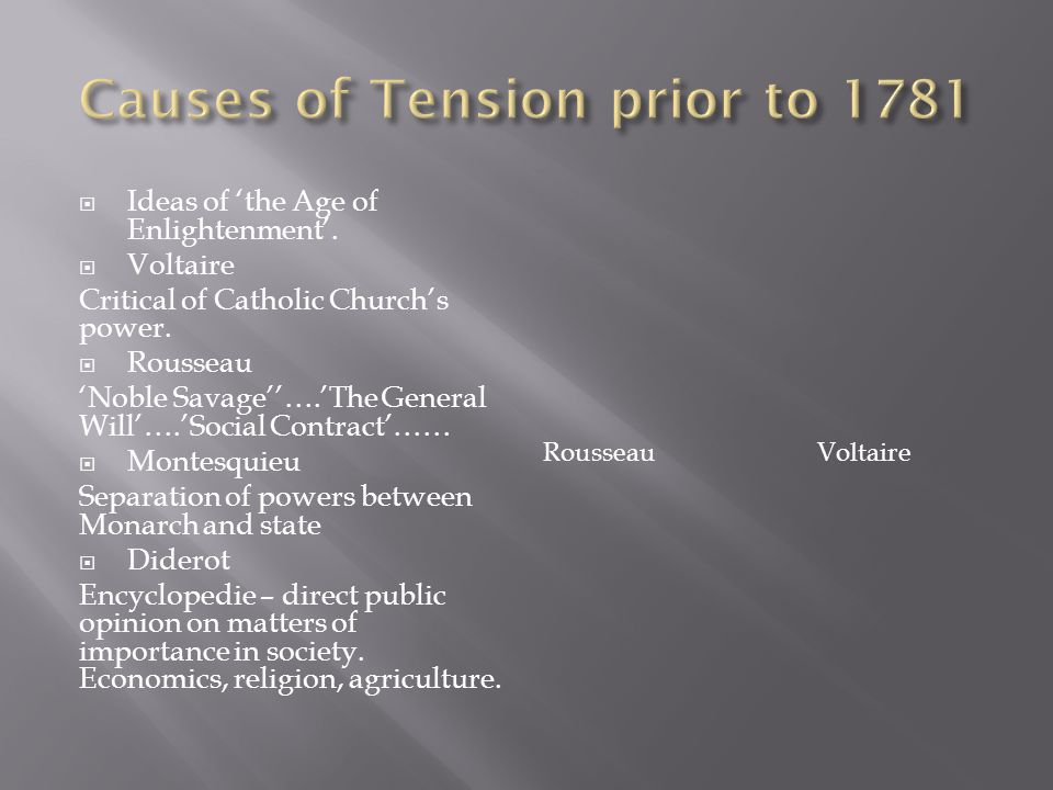 Causes of Tension prior to 1781