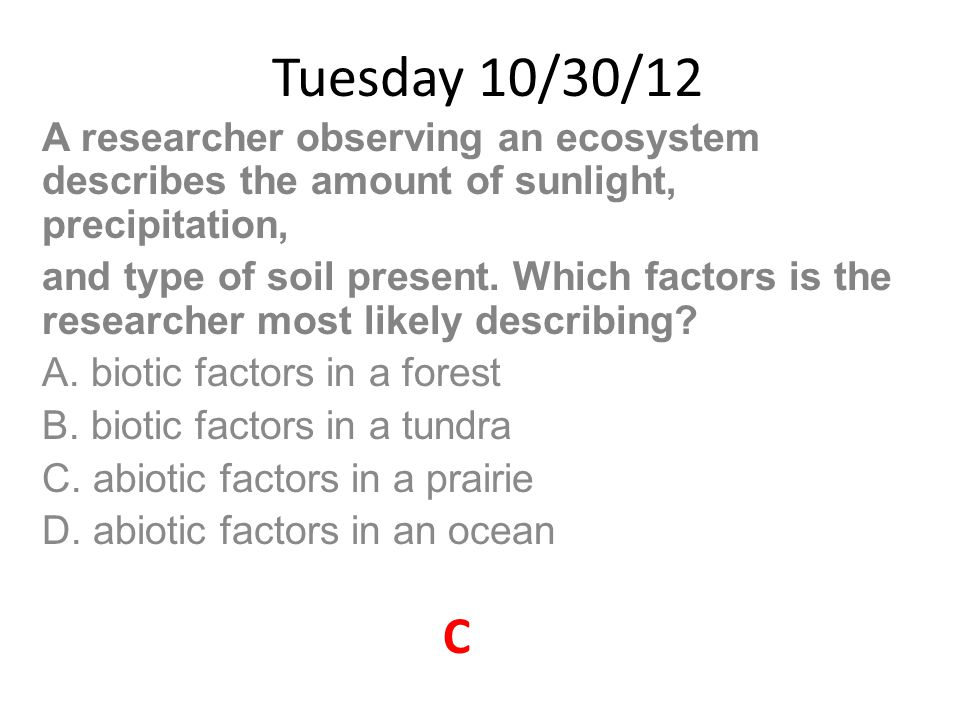 Tuesday 10/30/12 A researcher observing an ecosystem describes the amount of sunlight, precipitation,