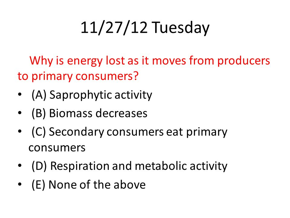 11/27/12 Tuesday Why is energy lost as it moves from producers to primary consumers (A) Saprophytic activity.