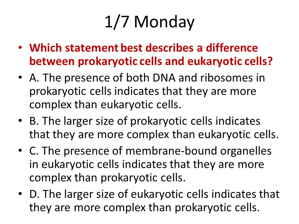 1/7 Monday Which statement best describes a difference between prokaryotic cells and eukaryotic cells
