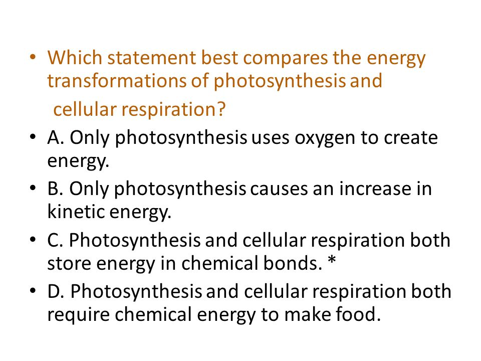 Which statement best compares the energy transformations of photosynthesis and