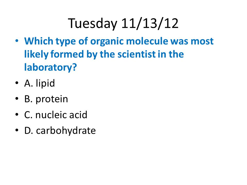 Tuesday 11/13/12 Which type of organic molecule was most likely formed by the scientist in the laboratory