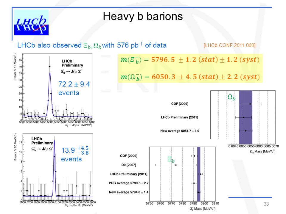 Heavy b barions LHCb also observed Ξ 𝑏 , Ω 𝑏 with 576 pb-1 of data
