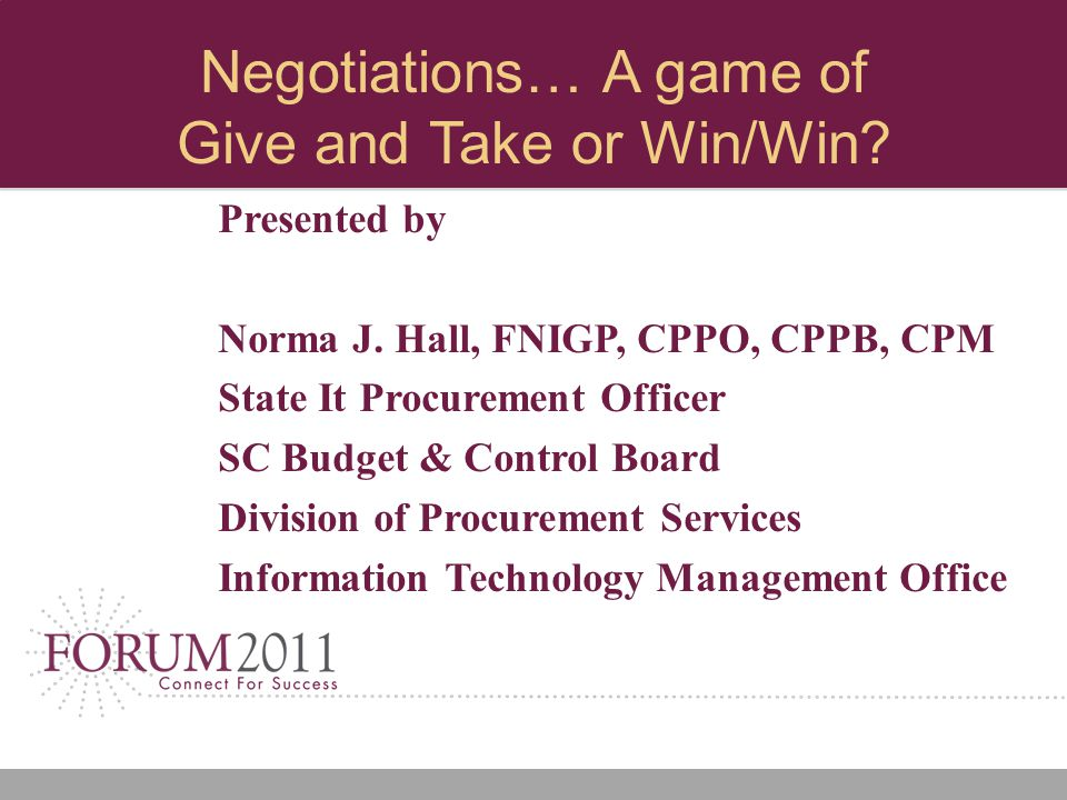 Negotiations… A game of Give and Take or Win/Win