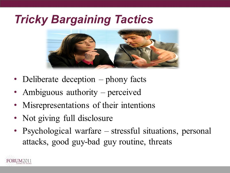 Tricky Bargaining Tactics