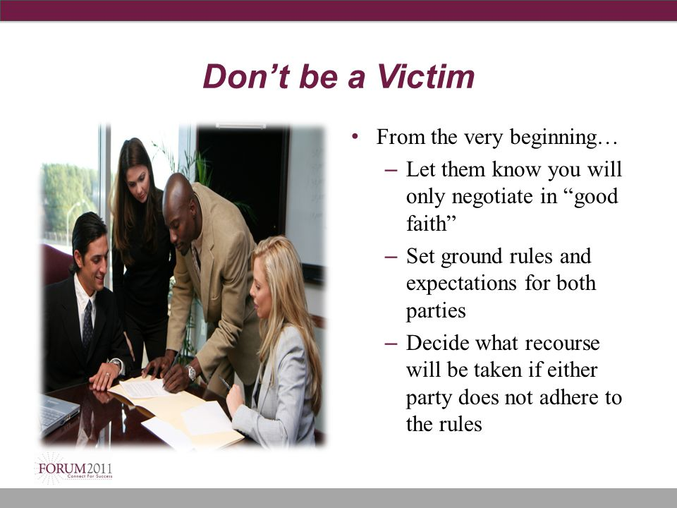 Don't be a Victim From the very beginning…
