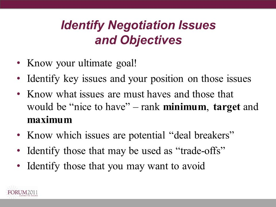 Identify Negotiation Issues and Objectives