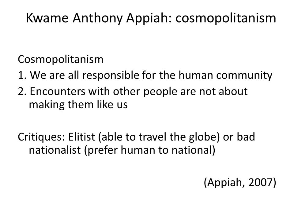 Kwame Anthony Appiah: cosmopolitanism