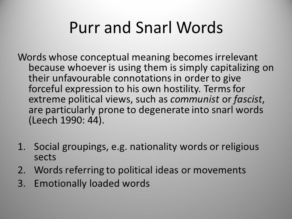 Purr and Snarl Words
