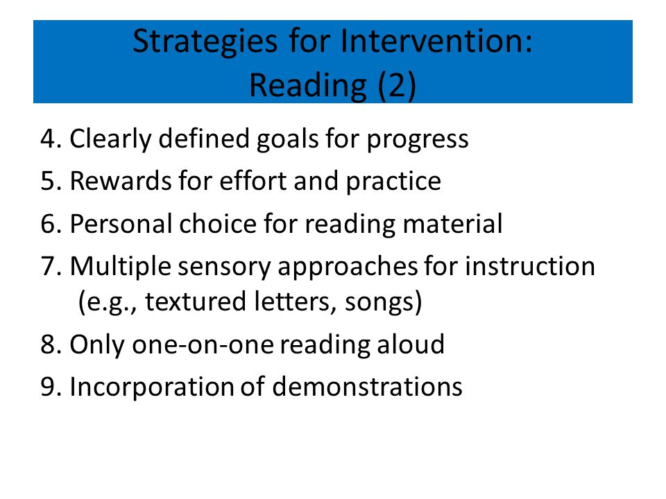 Strategies for Intervention: Reading (2)