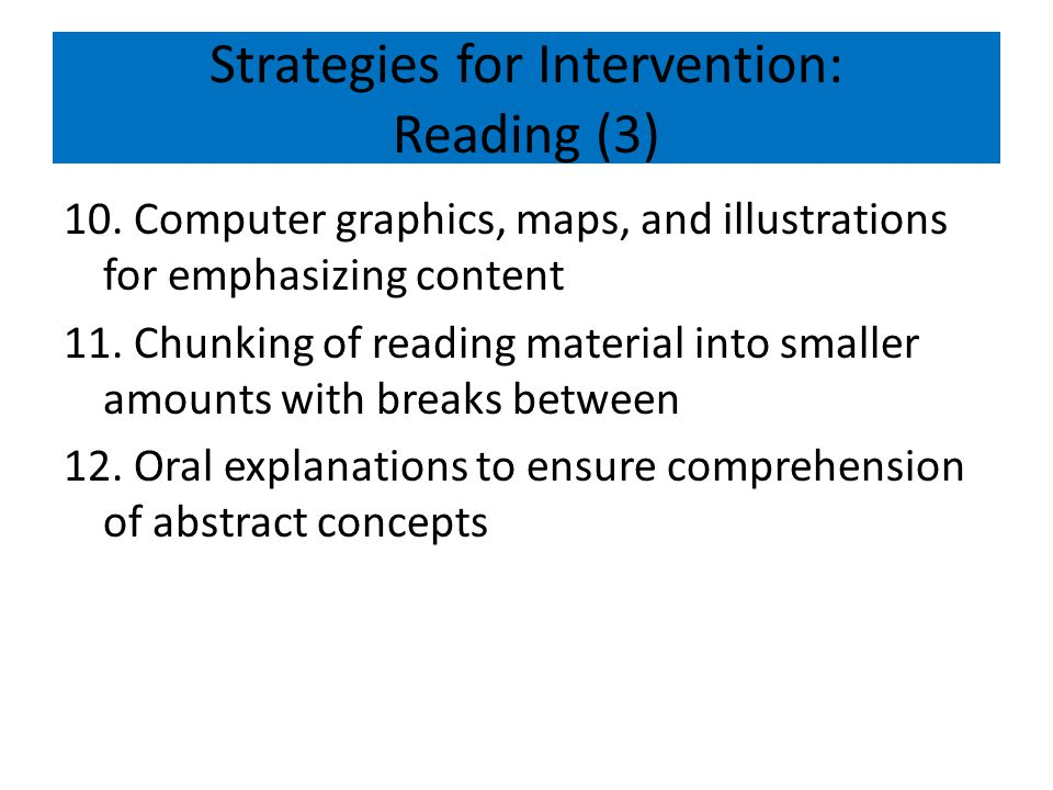 Strategies for Intervention: Reading (3)