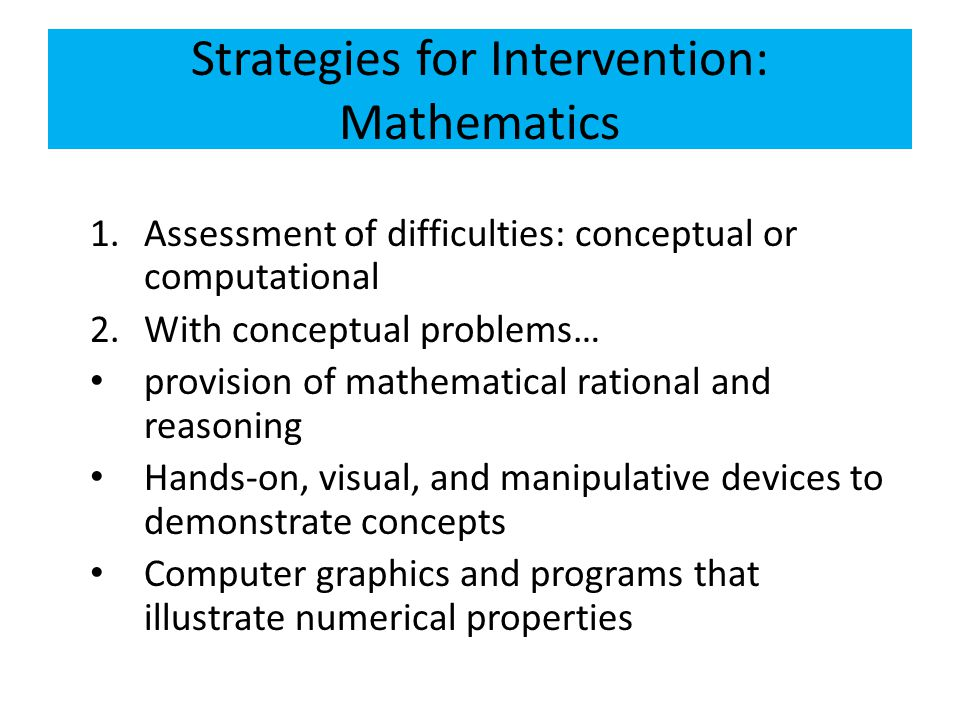 Strategies for Intervention: Mathematics