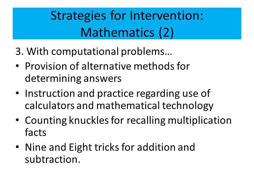 Strategies for Intervention: Mathematics (2)