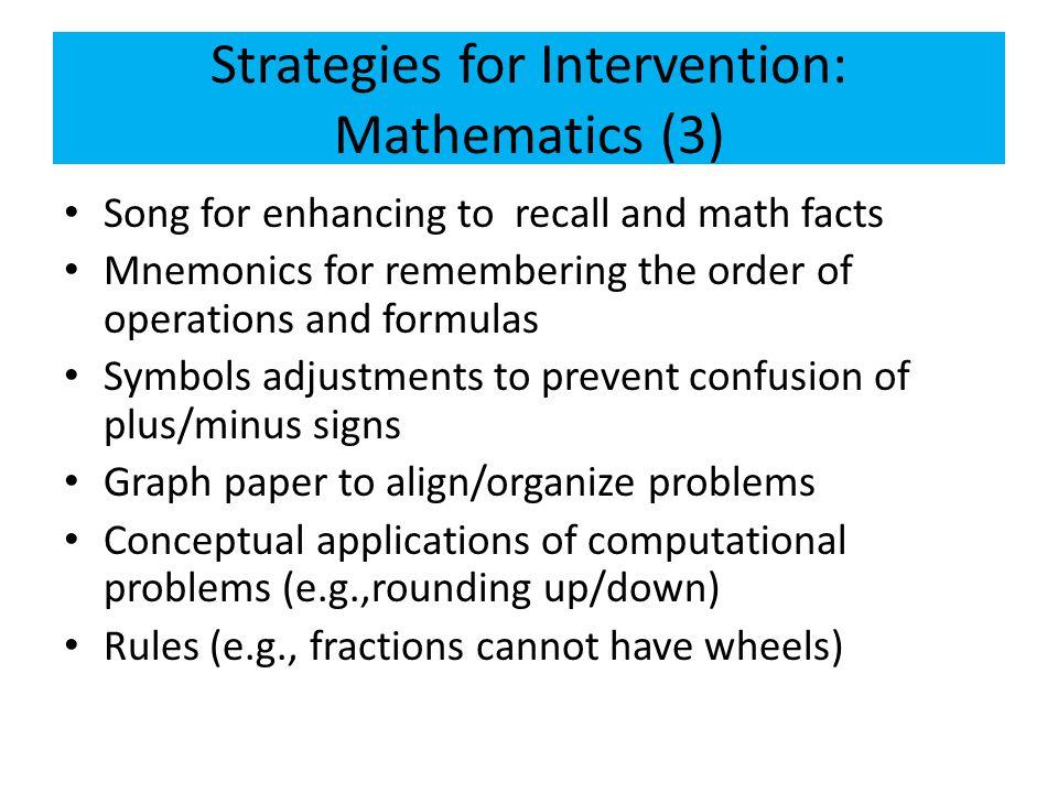 Strategies for Intervention: Mathematics (3)