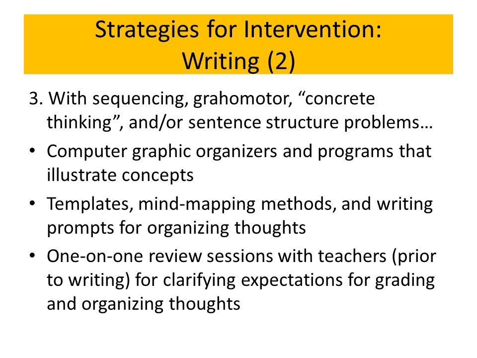Strategies for Intervention: Writing (2)